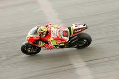 Valentino Rossi en la acción en Sepang, Malasia Foto de archivo libre de regalías