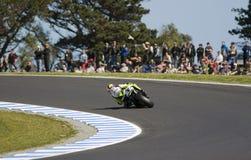 Valentino Rossi am MotoGP Rennen Stockfotografie