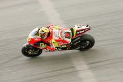 Valentino Rossi na ação em Sepang, Malaysia Foto de Stock Royalty Free