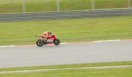 Valentino Rossi nell'azione a Sepang, Malesia Fotografia Stock