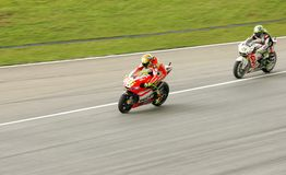 Valentino Rossi nell'azione a Sepang, Malesia Fotografie Stock Libere da Diritti