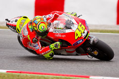Valentino Rossi racing at Catalunya Circuit Stock Photography