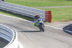 Valentino Rossi of Yamaha Factory team racing Stock Photos