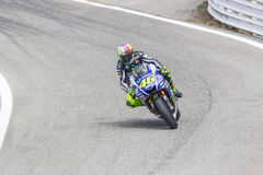 Valentino Rossi of Yamaha Factory team racing Royalty Free Stock Images
