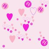 Valentinpatroon, harten, ellipsengekrabbel Getrokken hand vector illustratie