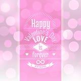 Valentins bakgrund för abstrakt begrepp för vektorn för dagkortet med suddig defocused rosa bokeh tänder Royaltyfria Bilder