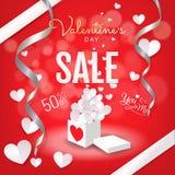 Valentins banret för bakgrund för dagförsäljningen, den öppna gåvaasken med hjärtor skyler över brister klippt stil royaltyfri illustrationer
