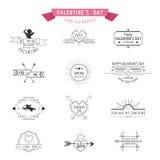 Valentins dag förser med märke och etiketter Arkivbilder