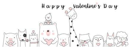 Valentins dagbakgrund med gulligt behandla som ett barn djurt tecknad filmH vektor illustrationer