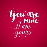Valentins dagbakgrund med text är du min, mig är din Royaltyfri Foto