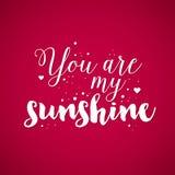 Valentins dagbakgrund med text är du mitt solsken Royaltyfria Foton