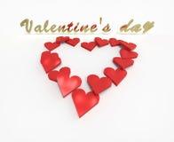 Valentins dagtext tränger igenom hjärtan Royaltyfria Foton