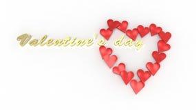Valentins dagtext tränger igenom hjärtan 3D Arkivbilder