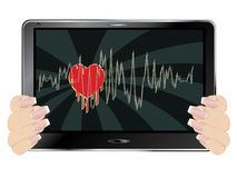 Valentins Day Greeting on Display. Lovely Valentines day greetings with red heart on digital display Stock Photography