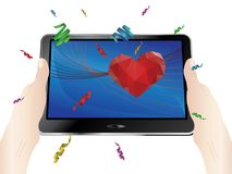 Valentins Day Greeting on Display. Lovely Valentines day greetings with red heart on digital display Stock Photos
