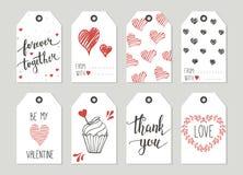 Valentins etiketter för daggåva ställde in, klistermärkear och etiketter Royaltyfria Foton