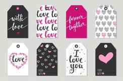 Valentins etiketter för daggåva ställde in, klistermärkear och etiketter Royaltyfria Bilder