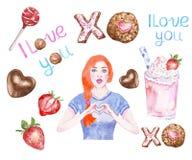 Valentins sötsaker för ans för dagfester ställde in med målade vattenfärgillustrationen för flickan handen royaltyfri illustrationer