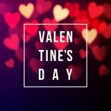 Valentinsgrüße kardieren mit bokeh Herzen Stockfoto