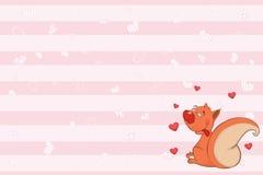 Valentinsgrüße kardieren mit einer netten Eichhörnchenillustration stock abbildung
