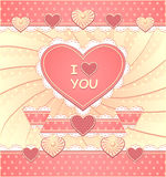 Valentinsgrüße kardieren mit Herzen und scrapbooking eleme Lizenzfreie Stockfotografie
