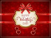 Valentinsgrüße kardieren mit roten Herzen und Bogen Lizenzfreies Stockfoto