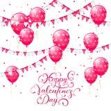 Valentinsgrüße, die mit rosa Ballonen und Wimpeln beschriften Stockbilder