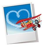 Valentinsgrüße kardieren mit Karikaturflugzeug Lizenzfreies Stockbild