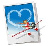Valentinsgrüße kardieren mit Karikaturflugzeug Stockfotografie
