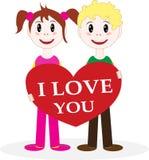 Valentinsgruß. Ein Junge und ein Mädchen geben einen Valentinsgruß Lizenzfreie Stockfotos