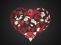 Valentinsgruß in Form von der Verzweigung und dem Verdrehen von roten Niederlassungen von stock abbildung