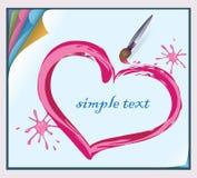 Valentinsgruß gemalt auf einem Blatt Papier mit einem Pinsel Stockfotos