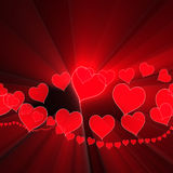 Valentinsgruß-Hintergrundglühen des Inneren Romanze Stockfoto