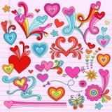 Valentinsgruß-Liebes-Inner-psychedelische Gekritzel stock abbildung