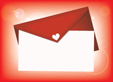 Valentinsgruß-Liebesbrief Stockbild