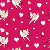 Valentinsgruß mit Engeln und Herzen Stockfotografie