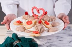 Valentinsgruß-Nachtischteller Stockbild