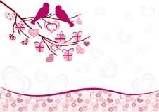 Valentinsgruß `s Karte mit Vögeln. stock abbildung