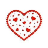 Valentinsgruß `s Tag Abstraktes Herz von roten Perlen Design für romantische Zusammensetzungskarten Lizenzfreie Stockfotografie