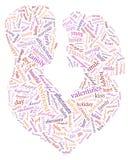 Valentinsgruß `s Tag Ich liebe dich Liebevolle Paare Inneres Illustration in den Wörtern lizenzfreies stockbild