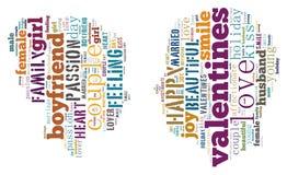 Valentinsgruß `s Tag Ich liebe dich Liebevolle Paare Inneres Illustration in den Wörtern stockbild
