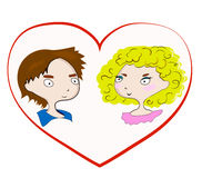 Valentinsgruß ` s Tag, Junge und Mädchen, Liebeskarte Lizenzfreies Stockbild