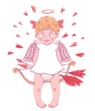 Valentinsgruß `s Tag Lustiges Amor-Mädchen im weißen Kleid mit Pfeil und Bogen in ihren Händen Innere herum Lizenzfreie Stockfotos