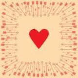 Valentinsgruß `s Tag Pfeile um das Herz lizenzfreie abbildung