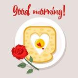 Valentinsgruß ` s Tagesfrühstück Karte, Plakat mit Wunsch des guten Morgens Stockbilder
