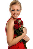 Valentinsgruß-\ 's-Tagesfrauen-Holding-Rosen Stockfotografie