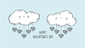 Valentinsgruß `s Tagesgrußkarte Handgezogene glückliche Wolken und -herzen lizenzfreie stockfotografie