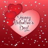Valentinsgruß `s Tagesgrußkarte Rote Papierherzen in der Art des Origamis vektor abbildung