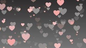 Valentinsgruß ` s Tageshintergrund, bunte Herzen, die auf grauem Hintergrund flattern stock footage