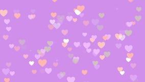 Valentinsgruß ` s Tageshintergrund, bunte Herzen, die auf rosa Hintergrund flattern stock footage